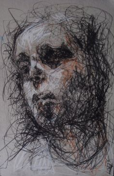 This is a contour line portrait. I like the way the sketcher has used those contour lines to portray the emotion of the portrait, those lines are giving it a sad and depressed look. Figure Painting, Figure Drawing, Dark Artwork, Ink Pen Drawings, Life Drawing, Drawing Drawing, Purple Art, Expressive Art, Art Themes