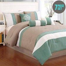 7 Piece Comforter Set Beige and Green Queen