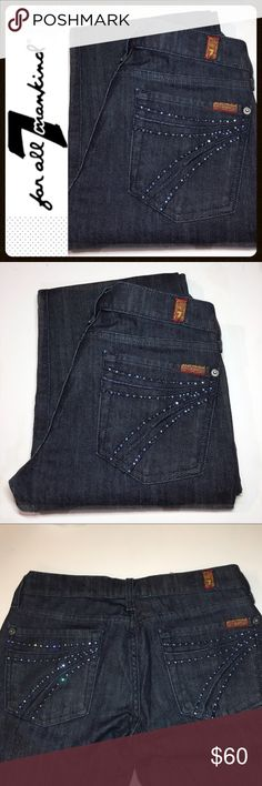"7FAM Crystal Pocket Dojo 26x31 ✔️Beautiful Dojo Jeans with Crystal Pockets ✔️Marked as size 27 but were taken in at the waist. So the waist fits like a 26 (14.5"" across laying flat) ✔️31"" inseam ✔️Excellent Condition ✔️Cotton Spandex Blend ✔️Mercer Dark Wash 7 For All Mankind Jeans"