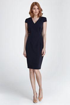 Robe bleu foncé moulante manches courtes femme col V NIFE S85 36 38 40 42 44