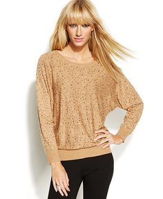 INC International Concepts Petite Dolman-Sleeve Embellished Sweater