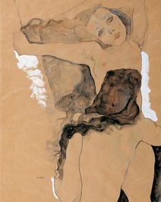 "Official Egon Schiele's Women on Instagram: ""Egon Schiele's hauntingly beautiful painting of two friends, from 1911 #egonschiele #schiele #watercolor #expressionism #friends #nude…"""