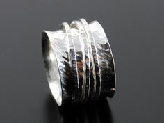 Silver wedding band fidget ring handmade stacking by AccentJewels