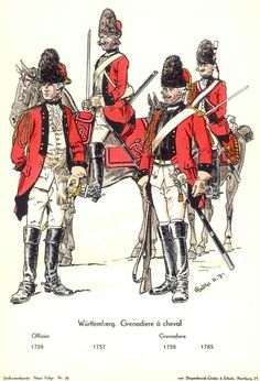 Wurttemberg; Grenadiers a Cheval, 1757-85