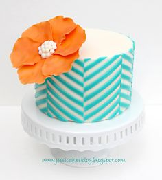 Offset Chevron Pattern Cake - I made this cake for a tutorial on my blog.  Stay tuned for some amazing videos.  I wanted to show how to use the wax paper transfer technique I created to help with applying complicated graphic patterns onto a cake...easily and precisely.  I LOVE this graphic and couldnt imagine doing it any other way!