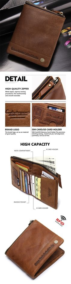 1546b4679 RFID Antimagnetic Genuine Leather Retro Multi-slots High Security Short  Wallet For Men sales at a wholesale price. Come to Newchic to buy a wallet