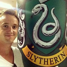 Rom Felton showinf off his #Slytherinpride at Universals Studios Japan (USJ)'s Wizarding world of Harry Potter.
