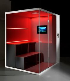 Compact Shower Cubicle-Offers Dry Sauna, Steam Bath and Shower - I like the benches and the TV. The red color is cool, too.