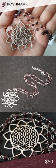 Reiki flower  life healing garnet stone necklace Nwt Sterling silver boho genuine natural stones Jewelry