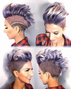 Metallic Mayham Modeled by Funky Hairstyles, Pretty Hairstyles, Shaved Hairstyles, Short Hair Cuts, Short Hair Styles, Half Shaved Hair, Shaved Hair Designs, Corte Y Color, Haircut And Color