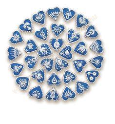 """Heart cookies in blue and white; Ékes Mézeskalács Ajándkékok: A """"hagyományos""""… Heart Shaped Cookies, Heart Cookies, Cute Cookies, Cupcake Cookies, Meringue Cookies, Iced Cookies, Sugar Cookies, Royal Icing Sugar, Royal Icing Cookies"""