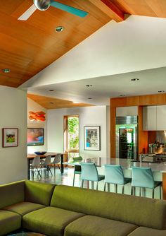 The living, kitchen and dining areas of this home all share the same space, allowing for plenty of room for entertaining.