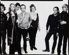 Gerard Malanga, Viva, Paul Morrissey, Taylor Mead, Brigid Polk, Joe Dallesandro, and Andy Warhol photographed by Richard Avedon, 1969.