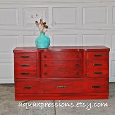 Red Vintage Dresser/ Bright Buffet/ Bedroom by AquaXpressions,