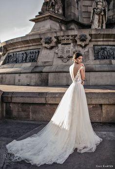 gali karten 2017 bridal off the shoulder sweetheart neckline heavily embellished bodice tulle skirt romantic soft a line wedding dress open v back chapel train (3) bv