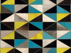 Leather rug with geometric shapes FRANKLIN Natural Materials Collection by Serge Lesage