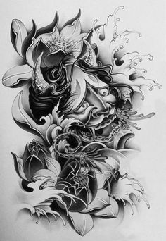I simply like the colors and shades, lines, and depth. This is really an excellent layout if you really want a Oni Tattoo, Biomechanical Tattoo, Samurai Tattoo, Demon Tattoo, Japanese Tattoo Art, Japanese Tattoo Designs, Japanese Sleeve Tattoos, Tattoo Sketches, Tattoo Drawings