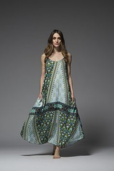 ASTERIA GREEN LONG DRESS
