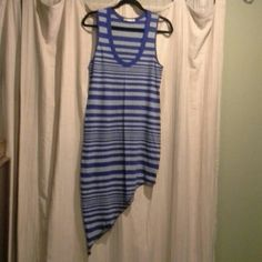 NWOT.......Slanted Hem Tank Dress Grey and royal blue striped tank dress. Hem is slanted....falls at mid thigh on one side and slightly below knee length on other side. Super cute as a cover up. Never worn.... Alternative Apparel Dresses