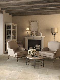 Cavendish Buff Stone Effect Porcelain In Situ Living Room Tiles, Tile Floor Living Room, House, Living Room Flooring, House Flooring, Home Decor, House Interior, Interior Design, Modern Farmhouse Kitchens