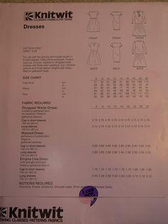 Knitwit 5000 stretch knit dress. Dress Patterns, Knit Dress, Size Chart, Knitting, Fabric, Dresses, Tejido, Vestidos, Dress Making Patterns