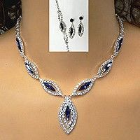 If your customer needs to accessorize navy with formal jewelry, these rhinestone necklace sets capture the color with Montana sapphire crystals highlighting a clear rhinestone necklace set. The three-piece set includes necklace, earrings, and bracelet.  Click the link to browse wholesale rhinestone jewelry for set that your customers will appreciate.  http://www.awnol.com/store/Rhinestone-Jewelry/Rhinestone-Sets