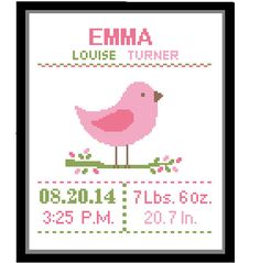 1 Cross Stitch custom Pattern Baby Girl von ZindagiDesigns auf Etsy