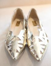 Gold Metallic Pointed Toe Cut Out Flat $51.20