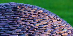 Detail of slate on dark planet sphere, garden sculpture - Modern Design Reflective Sculpture, Outdoor Sculpture, Modern Sculpture, Abstract Sculpture, Garden Sculptures, Sculpture Art, Garden Spheres, Garden Stones, Dark Planet
