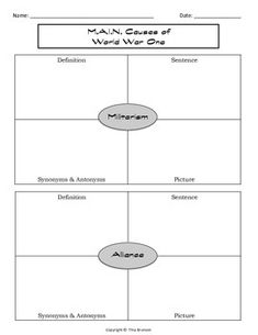 Printables Causes Of World War 1 Worksheet world war i trench and on pinterest m a n causes of one graphic organizer