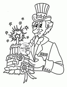 cake for 4th of july coloring page for kids coloring pages printables free wuppsy