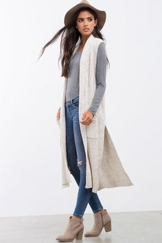 [loving this whole look, but ESPECIALLY the long, sleeveless cardigan] Harper Long Line Sweater Vest Long Vest Outfit, Sweater Vest Outfit, Long Sweater Vest, Cardigan Outfits, Long Sweaters, Fall Cardigan, Gray Sweater, Cardigan Sweaters, Sweater Fashion