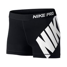 Women's Nike Pro Logo 3 Inch Shorts ($35) ❤ liked on Polyvore featuring activewear, activewear shorts, shorts, nike, bottoms, workout, active wear, nike sportswear, logo sportswear and nike activewear