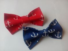 Bow ties Two nautical red and blue bowties Perfect gifts for little boys Nautical themed wedding bow ties Deux nœuds papillons nautiques by accessories482 on Etsy