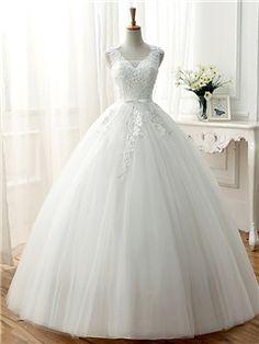 Ericdress High Quality V Neck Ball Gown Wedding Dress