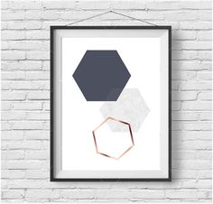 Minimalist Hexagon Art Downloadable Print Geometric Print Gray Art Navy Gray Print Rose Gold Art Copper Home Decor Scandinavian Print