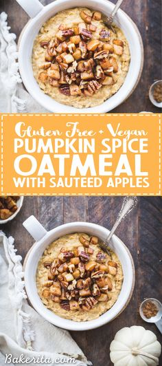Pumpkin Spice Oatmeal is rich, creamy, and perfect for chilly fall mornings. It's lightly sweetened with maple syrup and topped with warm sauteed apples. It's also gluten free and vegan. Vegan Oatmeal, Gluten Free Oatmeal, Pumpkin Oatmeal, Gluten Free Pumpkin, Vegan Pumpkin, Pumpkin Recipes, Vegan Gluten Free, Fall Recipes, Pumpkin Spice