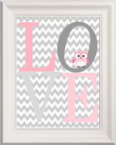 Owl Nursery LOVE Art Pink and Grey Girl's Room by Pinkroad457, $6.50