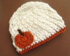 Crochet Pumpkin Hat for Halloween or Thanksgiving - White for girl or boy - baby infant newborn 0 3 6 9 12 months toddler Bonnet Crochet, Crochet Diy, Crochet Fall, Holiday Crochet, Crochet Beanie, Crochet For Kids, Crochet Crafts, Yarn Crafts, Crochet Projects