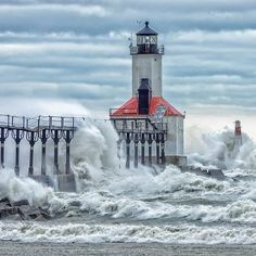 The Lighthouse in Michigan City, IN These are the waves caused by Hurricane Sandy. Taken Oct 30th, 2012. I've walked all the way out to the far side of it. It is beautiful out there!!