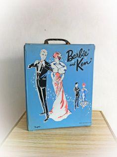 Vintage 1960s Barbie and Ken Doll Case 1963 Ponytail. $28.00, via Etsy.