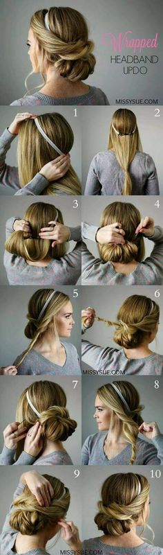 25 Step By Step Tutorial For Beautiful Hair Updos ? - Page 2 of 5 - Trend To Wear (Coiffure Pour Cheveux) Updo With Headband, Headband Tutorial, Hairband Hairstyle, Updo Tutorial, Updo Curls, 1920s Hair Tutorial, Easy Curls, Curls Hair, Flower Headbands