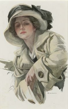 Harrison Fisher Art Lady Beige Coat and Hat by TheOldDesignShop Beige Coat, Female Pictures, Plastic Art, Victorian Women, Artist Gallery, Edwardian Fashion, Types Of Art, Erotic Art, Fashion Prints