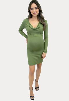This green moss long sleeve cowl maternity dress is the perfect mix of comfort and style to flatter your bump! Add this body con maternity dress to your maternity wardrobe to up your bump style game. Sexy Mama Maternity dresses are the best because they are designed to wear throughout your whole pregnancy and into postpartum. #SexyMamaMaternity #ShopSexyMama #maternitydresses Pregnancy Wardrobe, Pregnancy Dress, Maternity Wardrobe, Winter Maternity Outfits, Maternity Gowns, Sexy Dresses, Formal Dresses, Bump Style, Material Design