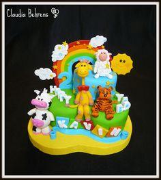 Happy Rainbow Animals Cake