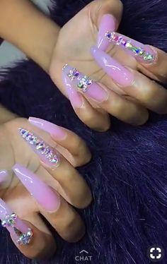 see through nails Glam Nails, Bling Nails, Hair And Nails, My Nails, Nagel Bling, Fire Nails, Long Acrylic Nails, Manicure Y Pedicure, Nail Games