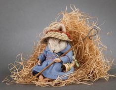 R John Wright Mother Goose Series Billy Boy Blue Mouse {new}