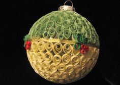 Quilled ornament with holly berries