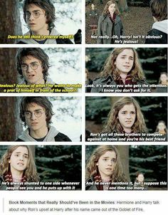 Hermione talking to Harry book moment