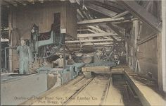 Double-cut Pony Band Saw, Union Lumber Company. Lumber Mill, Logging Equipment, Industrial Machine, Lumberjacks, Fort Bragg, World History, Vintage Pictures, Chainsaw, Vintage Photography